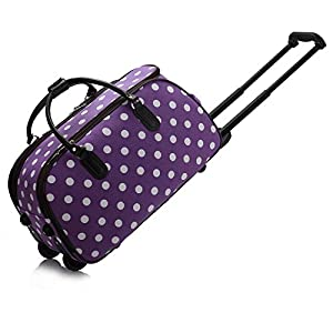 Ladies Travel Holdall Bags Hand Luggage Womens Polka Dot Weekend Wheeled Trolley Handbag