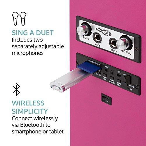 oneConcept Tallgirl • Karaoke Anlage • Karaoke Player • Karaoke Set • Turmlautsprecher • vier Breitbandlautsprecher • Bassreflex • Bluetooth • 2 x Kabelmikrofon • 1000 mAh Akku • Radio-Tuner • USB-Port • MP3-fähig • AUX-IN • LED-Effektbeleuchtung • pink - 5