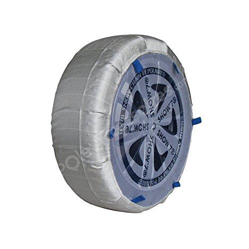 Chaussettes neige textile renforcé avec grille centrale de protection de la jante pour pneu 245/45R15