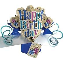 """Second Nature - Tarjeta de felicitación para cumpleaños, diseño en 3D con texto en inglés """"Happy birthday"""""""