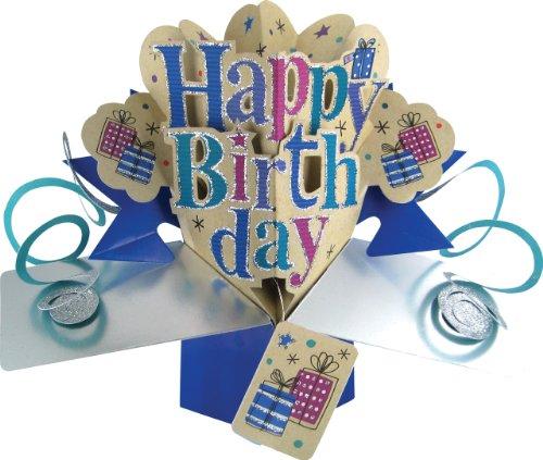 Second Nature - Tarjeta de felicitación para cumpleaños, diseño en 3D con texto en inglés'Happy birthday'