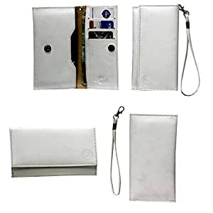 Jo Jo A5 G8 Leather Wallet Universal Pouch Cover Case For Maxx MX166 White