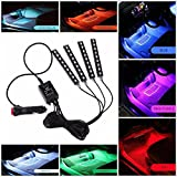 #2: Casago Car LED RGB Interior Atmosphere Floor Underdash Lighting & Strip Waterproof Glow Neon 9 LED x 4 Strips Decoration Lamp with Sound Active Function and Wireless Remote Control and Car Charger
