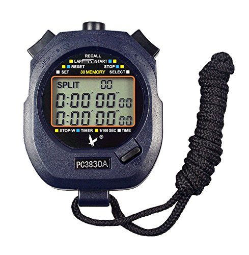 Calesi Digital Professional Handheld LCD Sports Chronomètre Three-row 30 souvenirs genoux