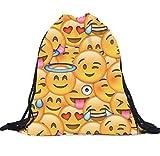Covermason Unisex emoji Rucksäcke 3D Druck Taschen Kordelzug Rucksack Drawstring Backpack Sporttasche Tasche