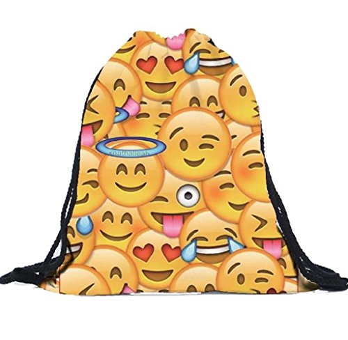 emoji tasche Covermason Unisex Emoji Rucksäcke 3D Druck Taschen Kordelzug Rucksack Drawstring Backpack Sporttasche Tasche (B)