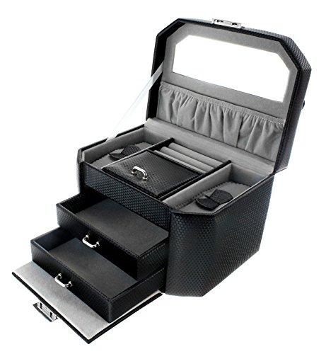 uckkasten Schmuckschatulle Schmuckkoffer mit Spiegel Schwarz - CC-CJ006A ()