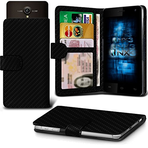 (Carbon Fibre) Allview P5 Energy Hülle Abdeckung Cover Case schutzhülle Tasche Verstellbarer Feder Mappe Identifikation-Kartenhalter-Kasten-Abdeckung ONX3