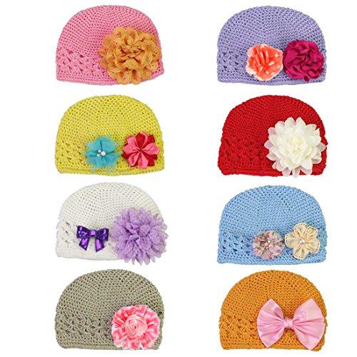 KF Baby-Morbido Berretto all'uncinetto, con fiore, a Clip, da 8 cappelli da 12 fiori