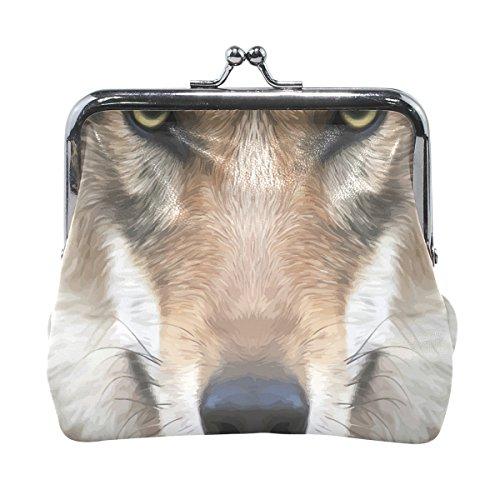 Hund Gesicht Design Leder Geldbörse Snap Verschluss Kupplung Münze Brieftasche (Realistische Hund)