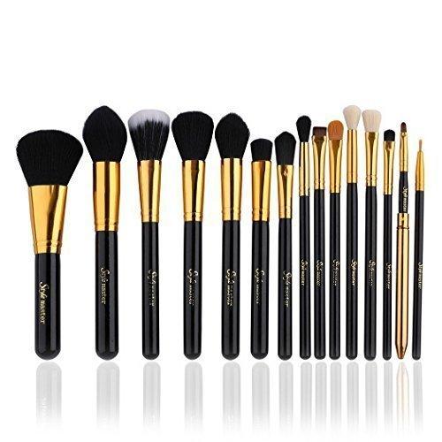 Set da 15 pennelli professionali per make-up, tra cui pennello per ombretto, pennello per fard, pennello per correttore, pennello per labbra, pennello per sopracciglia (Oro)