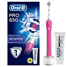 Oral-B Pro 650 3D White Electric Rechargeable Toothbrush Powered by Braun, 1 Pink Handle, 1 Oral-B 3D White Luxe Perfection Toothpaste, 2 Pin UK Plug