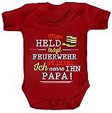 ShirtStreet Vatertag Feuerwehr Strampler Bio Baumwoll Baby Body kurzarm Papa - Mein Held trägt Feuerwehrstiefel, Größe: 3-6 Monate,Red