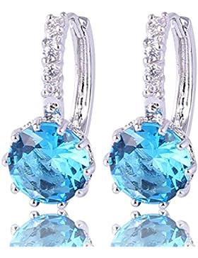 GULICX Elegant 925 Sterling Silber Klappbügel Ohrringe Rund Aquamarin Farbe Kristall Zirkonia CZ Ohrhänger