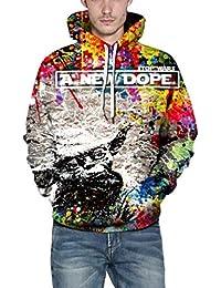 2434cf783ddb Hommes 3D Graffiti Impression Sweat à Capuche Casual Long Sleeve Caps Sweat  Top Blouse- Automne Hiver Veste A…