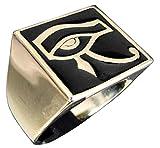 Bague Egyptienne Oeil d'Horus en Bronze et Email Noir - Bijou Egyptien Oeil d'Oudjat - Oeil de Ra - Symbole Spirituel...