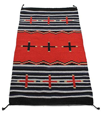 Onyx Pfeil Southwest Décor Bereich Teppich, Acrylbeschichtete Baumwolle, Cross Collection Black/Red Stripe, 32 x 64 - Western Living Collection
