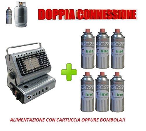 STUFA STUFETTA A GAS PORTATILE DOPPIA CONNESSIONE SIA CARTUCCE A GAS SIA BOMBOLE + 6 CARTUCCIA OMAGGIO