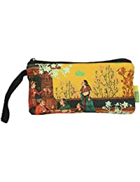 Eco Corner - Indian Art Balcony - Pouch - Small - 100% Cotton / Washable / Printed On Both Sides / Zip Closure...