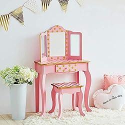Teamson Kids Fashion Polka Dot Prints coiffeuse enfant, MDF et Bois Massif (respectueux de l'environnement), Pink & Gold