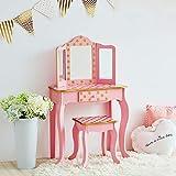 Teamson Kids- Fashion Polka Dot Prints Coiffeuse Enfant, TD-11670L, Pink & Gold