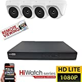 Hikvision CCTV HD 4canali 1080P 2MP DVR Night Vision Outdoor Home Security System kit, bianco