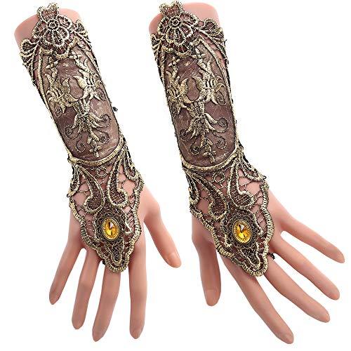 Ringe Kostüm Hochzeit - Juland Fingerlose Spitzenhandschuhe Damen Gothic Blumenspitze Steampunk Armband Ring Vintage Perlen Handgemachte Schnürschuhe Braut Armband Ring Set - 1 Paar - Bronzieren