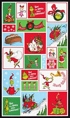 Baumwoll-gewebe-panel (Dr Seuss Panel–DR SEUSS Grinch Christmas–Panel–rk223–von Robert Kaufman–100% Baumwolle)