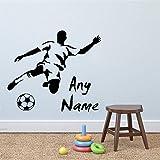 wangpdp Nome Personalizzato per Il Calcio Adatto ai Bambini Appassionato di Sport Adesivi murali per campi Sportivi Decalcomanie per pareti Adesivi murali 42 * 48cm