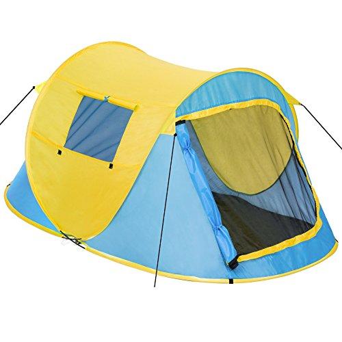 Tectake tenda popup campeggio 2 posti automatica instant con picchetti e borsa - disponibile in diversi colori - (blu-giallo | no. 401673)