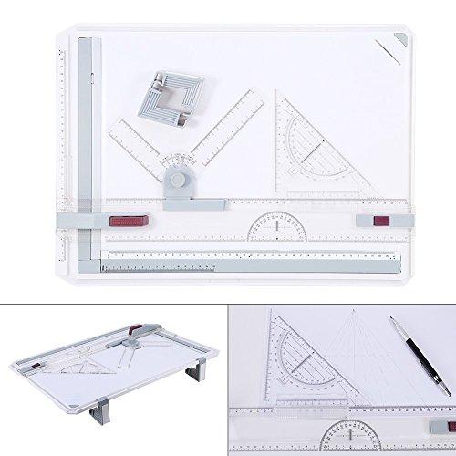 A3 Zeichenplatte DIN A3 Zeichenbrett Zeichentisch mit Präzision Lineal für Professionell Arbeiten, 50 x 36,5 cm