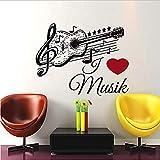 wwwff Musique Guitare Stickers Muraux Noir Amovible Art auto-adhésif Papier Peint Notes de Vinyle Stickers Muraux Décoration 59x74cm