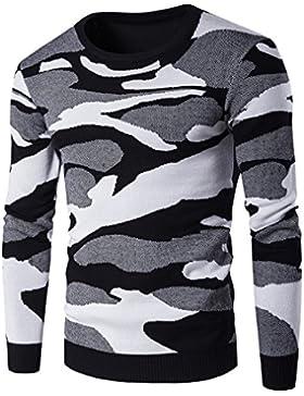 MEI&S Cuello redondo hombres Sudadera Sudadera Sueter Tejido gruesa ropa de abrigo
