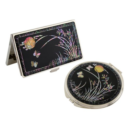 Set Miroir de Poche + Porte carte de visite Nacre Collection fleur ORCHIDEE LUNE
