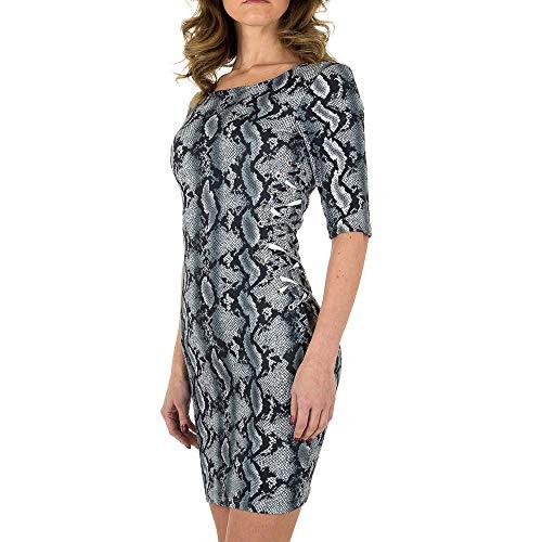 Ital-Design Wildlederoptik Animal Print Kleid Noemi Kent Gr. S Grau