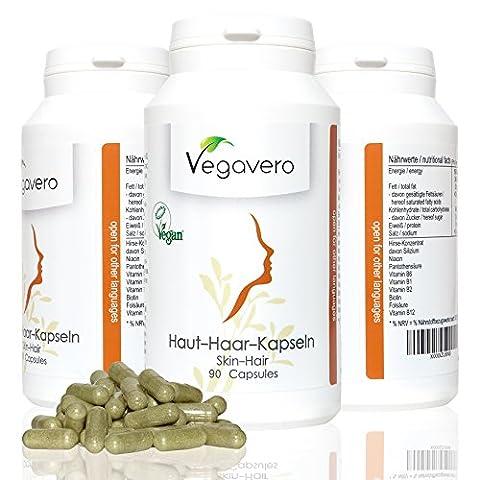 Haut-Haar-Komplex 400 mg | 90 Kapseln | Kombipräparat mit Pflanzenextrakten & Vitaminen | Haut - (Vita Biotina)