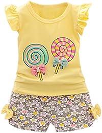Cute 2PCS Set , Bambini Maglietta+ Pantaloni, KOLY Bambino Ragazza ragazzi bambina ragazze bambine abiti cotone casual della camicia Vestito Pullover Felpa T-Shirt Top corti vestiti set (Yellow, 80CM)