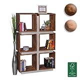 FineBuy Bücherregal Massivholz 135 x 85 x 30 cm | Design Raumteiler mit stilvoller Metallverkleidung | hohes Regal aus Holz im Landhaus-Stil | Regalsystem Natur-Produkt für Wohnzimmer