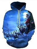 KamiraCoco Unisex 3D Digital Druck Bunte Kapuzenpullover Hoodie Langarm Damen Und Herren Cartoon Weihnachten Halloween Sweatshirt Pullover (XXL / 3XL (Brustumfang: 122-142CM), Mond Weihnachten)