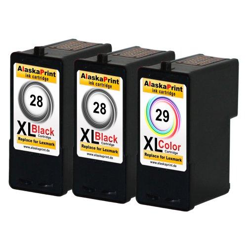 Preisvergleich Produktbild Premium 3er Set Kompatible Druckerpatronen Als Ersatz für Lexmark 28 XL + 29 XL für Lexmark Z1300 X5070 X5075 X5490 X5495 Z1300 X2500 Z1310 Z1320 Z1350 Z845 Patronen 2x28+1x29-lex