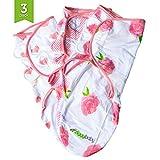 Ziggy Baby Wickeltücher für Babys, universelle Passform, an die Größe des Babys anpassbar, 100% weiche Baumwolle, Set für Mädchen, Rosa / Herzen / Rosen, 3Stück