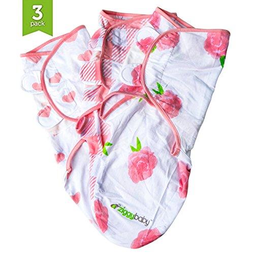 Wickeldecke für Babys – 3er-Pack, universell passend, Ziggy Baby, verstellbares Wickelset für Mädchen, weich, 100% Baumwolle, rosa Blumen, Herzen