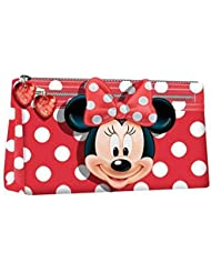 MINNIE - Trousse scolaire plate 2 zips Rouge Noeud 3D Deluxe Minnie Disney