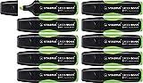 STABILO GREEN BOSS - Marcador fluorescente fabricado en un 83% con plásticos reciclados - Caja con 10 unidades color verde