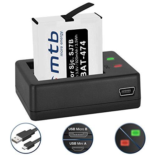 Galleria fotografica Batteria + Caricabatteria doppio (USB) per SJCAM SJ7 Star 4K NATIV WiFi (Black / Silver / Rose Edition), SJ7000 Star Actioncam - Cavo USB micro incluso