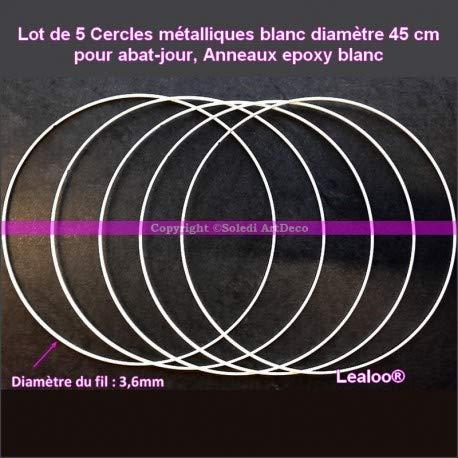 Lote de 5 círculos metálicos de Color Blanco. 45 cm para Pantalla de lámpara, Anillas epoxi Blancas, atrapasueños