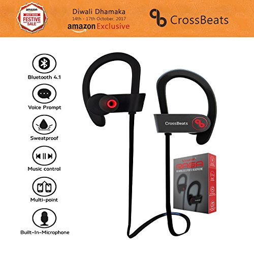 Crossbeats Raga Wireless Sport Bluetooth Earphones Headphones and Headset with Mic (Black)