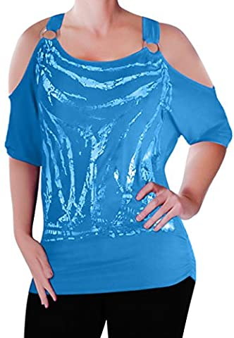 Mona Off The Shoulder Cut Out Graphic Womens Top Turquoise M/L