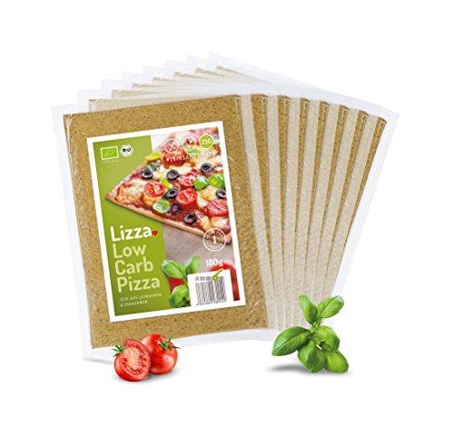 Image of Lizza Low-Carb Pizza-Teig aus Lein-Samen und Chia-Samen. Bio. Gluten-Frei. Vegan. (8 x 180g)