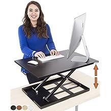 X-ELITE PRO: escritorio para estar de pie o sentado ajustable en altura. ¡Convierte tu actual escritorio en un escritorio de pie! (Negro)